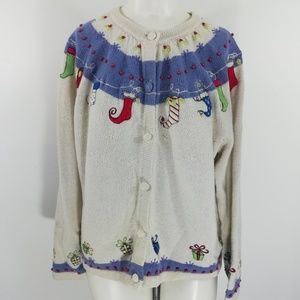 Croft & Barrow Christmas Cardigan Sweater Size L